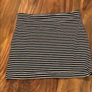Navy and White Striped Mini Skirt
